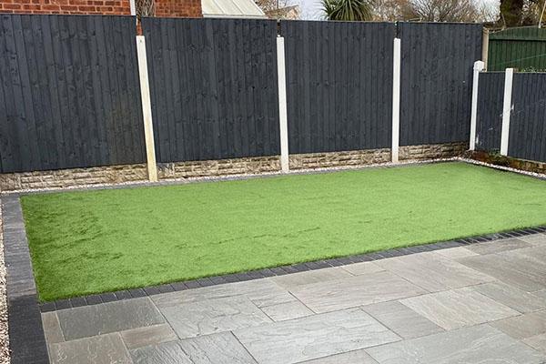 Fence patio turf
